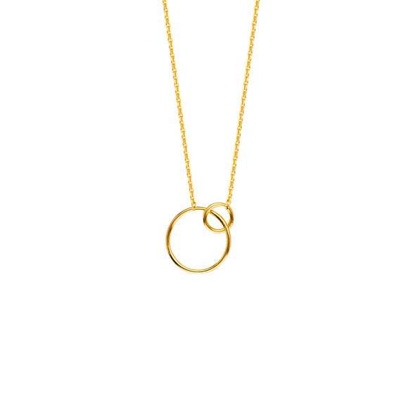 6cbec504df NWT 14K Yellow Gold Interlocking Rings Necklace Boutique